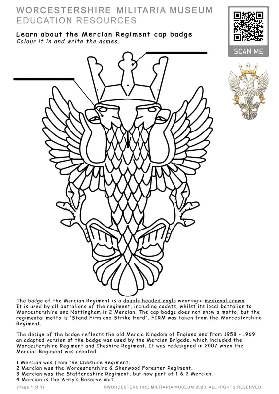 The Mercian Regiment cap badge. Learning activity.