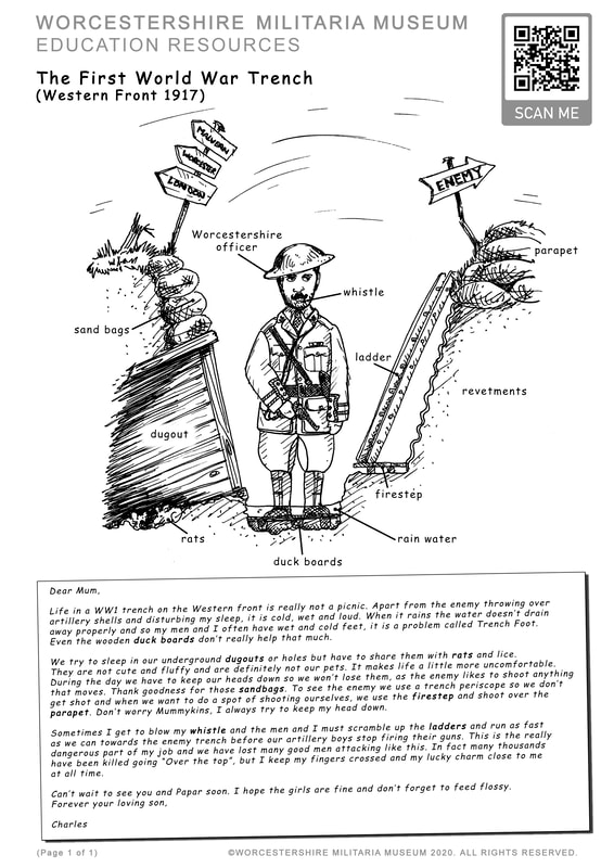 World War One Trench Worcestershire Regiment colouring sheet